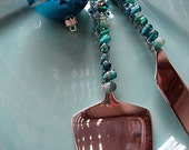Turquoise Beaded Cake Server and Cake Knife