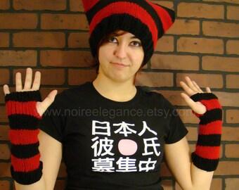 Red and Black striped neko cap (Cat's ears shaped cap)