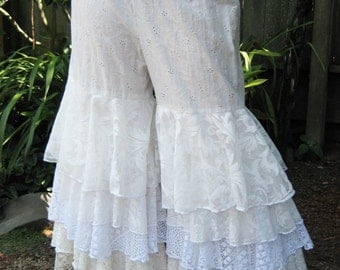 CUSTOM ORDER ONLY Fluffie Rufflie Pantaloons/ Tribal Bellydance/ Bridal/ Wedding/ Steampunk/ Victorian/Holiday