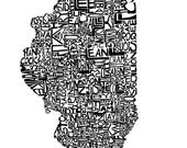 Illinois typography map a...