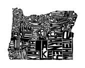 Oregon map art typography...