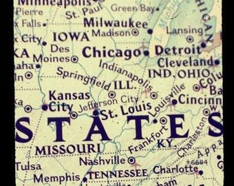 map art print - mid west map ttv photo print - wall decor home decor office art housewarming going away gift