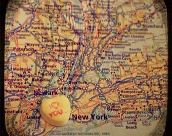 i love you new york candy heart map art 8x8 ttv photo print - free shipping