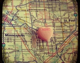 xoxo twin cities custom candy heart map art 5x5 ttv photo print - free shipping