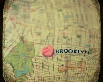 you rock brooklyn custom candy heart map art 5x5 ttv photo print - free shipping