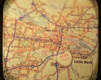 miss you little rock candy heart map art 5x5 ttv photo print - free shipping