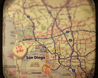 i love you san diego candy heart map art 5x5 ttv photo print - free shipping