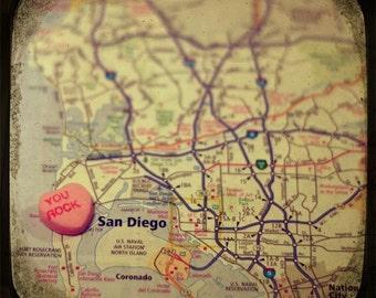you rock san diego custom candy heart map art 5x5 ttv photo print - free shipping