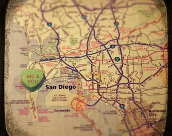 me & you san diego candy heart map art 5x5 ttv photo print - free shipping