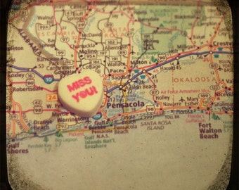 miss you pensacola candy heart map art 5x5 ttv photo print - free shipping