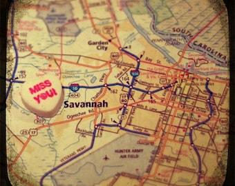 miss you savannah candy heart map art 5x5 ttv photo print - free shipping
