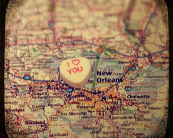 i love you new orleans custom candy heart map art 5x5 ttv photo print - free shipping
