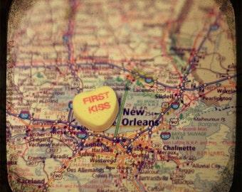 first kiss new orleans candy heart map art 5x5 ttv photo print