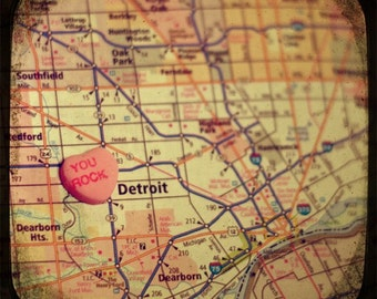 you rock detroit candy heart map art 5x5 ttv photo print - free shipping