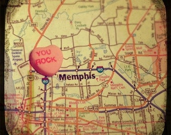 you rock memphis custom candy heart map art 5x5 ttv photo print - free shipping