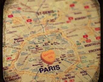 marry me paris custom candy heart map art ttv photo print