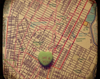 me & you greenwich village custom candy heart map art 5x5 ttv photo print - free shipping