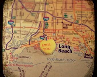 miss you long beach custom candy heart map art 5x5 ttv photo print - free shipping