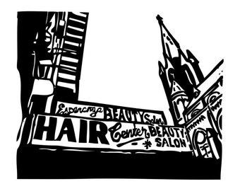 Bushwick Ave Brooklyn Fine Art Print Wall Decor new york city home decor linocut
