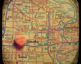 marry me omaha custom candy heart map art 5x5 ttv photo print - free shipping