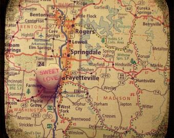 sweet love fayetteville custom candy heart map art 5x5 photo print - free shipping