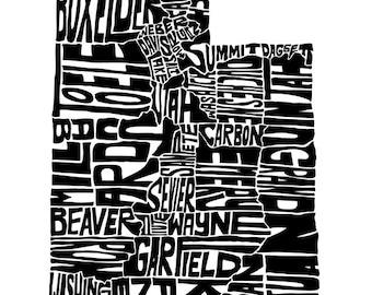 Utah - typography map art print 5x7 - customizable personalized state poster custom wall decor engagement wedding housewarming gift