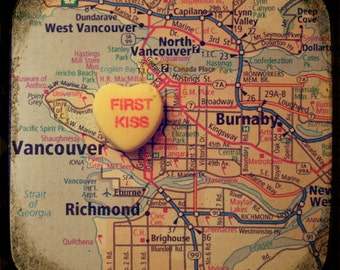 first kiss vancouver custom candy heart map art ttv photo print - free shipping