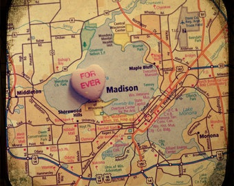 forever madison candy heart map art 5x5 ttv photo print - free shipping