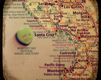 me & you santa cruz custom candy heart map art 8x8 ttv photo print - free shipping