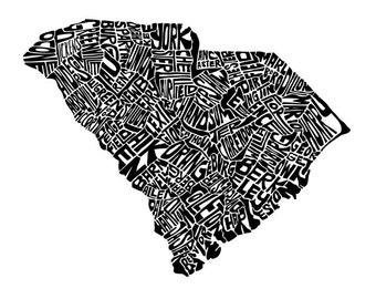 South Carolina - typography map art print 11x14 - personalized state poster custom wall decor engagement wedding housewarming gift