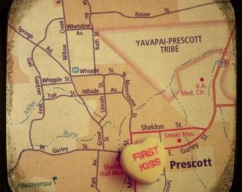 first kiss prescott custom candy heart map art  5x5 ttv photo print