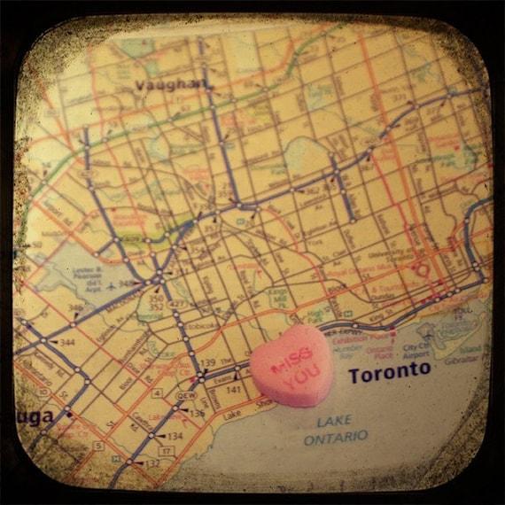 miss you toronto candy heart map art 8x8 ttv photo print - free shipping