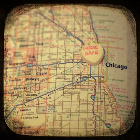 home safe chicago candy heart map art 5x5 ttv photo print - free shipping