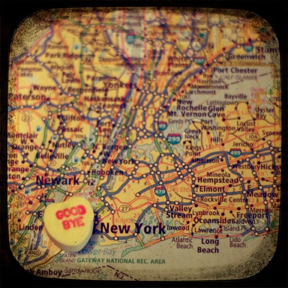 goodbye new york candy heart map art 5x5 ttv photo print - free shipping