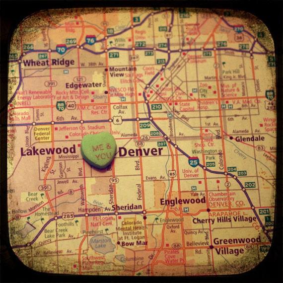 me & you denver custom candy heart map art 5x5 ttv photo print - free shipping