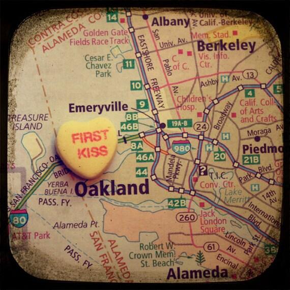 first kiss oakland custom candy heart map art 5x5 ttv photo print