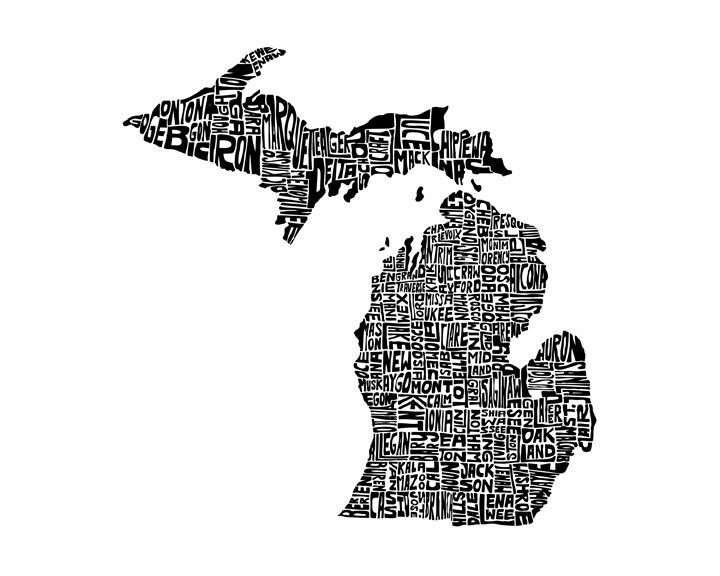 Michigan Typography Map Art Print 8x10 Customizable