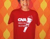 vintage 80s t-shirt CNA melville olympics NY tee shirt XL torch long island