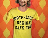 vintage 80s t-shirt NORTH EAST sales team flock Small we're number 1