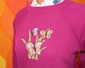 vintage 80s sweatshirt raglan pink butterfly flower art floral crewneck sweater Medium embroidery cross stitch