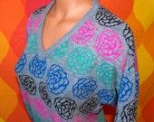 vintage 80s sweater women neon hot pink jordache ROSE floral v-neck Medium gray