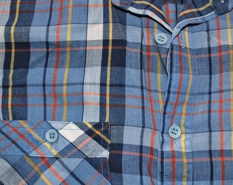 vintage 70s western shirt plaid gray button down campus shirt Small