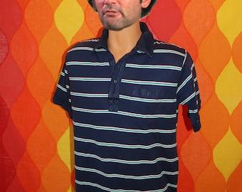 vintage 80s polo golf shirt navy striped fairway preppy shirt Large soft thin rainbow