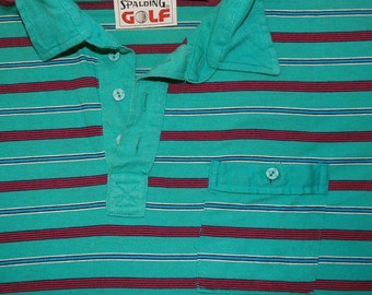 80s vintage golf shirt polo green pink striped preppy Large spalding