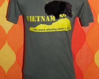vintage vantage t-shirt viet nam war we were winning FURRY 3-D BUFFALO Small