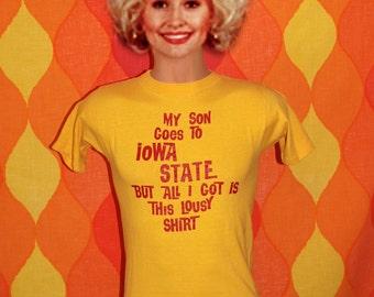 vintage t-shirt 70s my son goes IOWA STATE university tee shirt Small cyclones isu