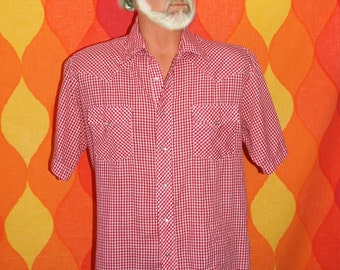 vintage 70s western shirt red gingham checker plaid short sleeve button down Large cowboy pearl snaps