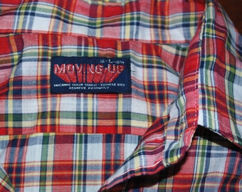 vintage 70s plaid shirt short sleeve button down western hipster Large soft