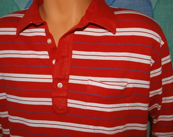 vintage 70s golf polo shirt soft silky red stripe Large arrow tournament 80s