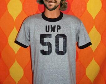 vintage 70s t-shirt ringer UWP university wisconsin super jock heathered gray tee Large